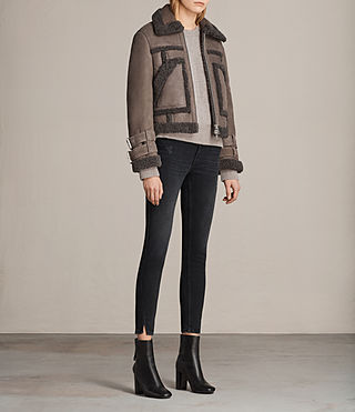Donne Asher Shearling Biker Jacket (Grey) - product_image_alt_text_3