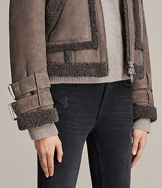 Mujer Asher Shearling Bike (Grey) - product_image_alt_text_4