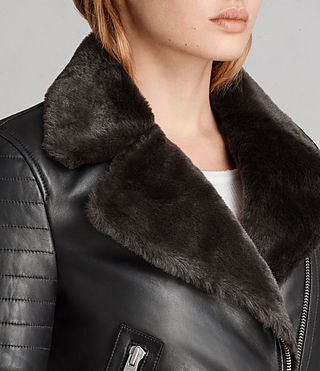 Women's Perkins Lux Biker Jacket (BLACK/MAGMA GREY) - Image 2