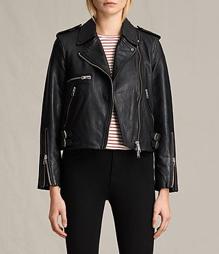 Women's Higgens Leather Biker Jacket (Black)