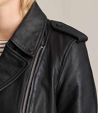 Womens Higgens Leather Biker Jacket (Black) - product_image_alt_text_2