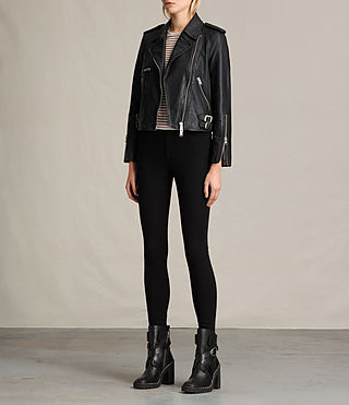 Womens Higgens Leather Biker Jacket (Black) - product_image_alt_text_3