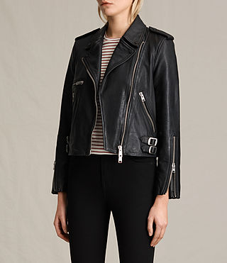 Womens Higgens Leather Biker Jacket (Black) - product_image_alt_text_4