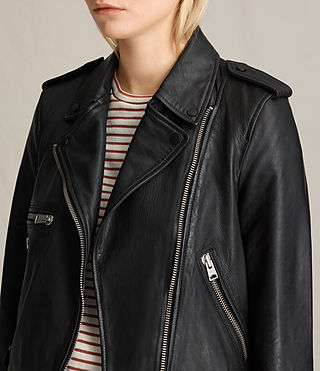 Womens Higgens Leather Biker Jacket (Black) - product_image_alt_text_7