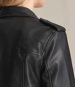 Womens Higgens Leather Biker Jacket (Black) - product_image_alt_text_8