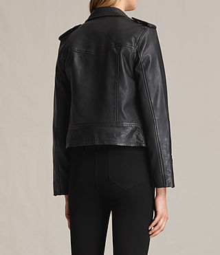 Womens Higgens Leather Biker Jacket (Black) - product_image_alt_text_9