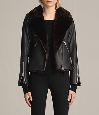 Womens Higgens Lux Leather Biker Jacket (Black/Oxblood)