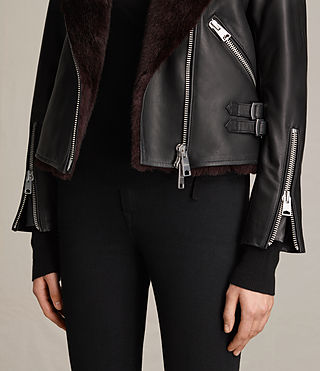 Women's Higgens Lux Leather Biker Jacket (Black/Oxblood) - product_image_alt_text_5