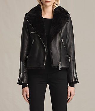 Damen Higgens Lux Leather Biker Jacket (Black/Black)
