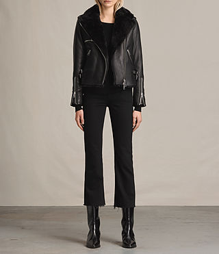 Womens Higgens Lux Leather Biker Jacket (Black/Black) - product_image_alt_text_3