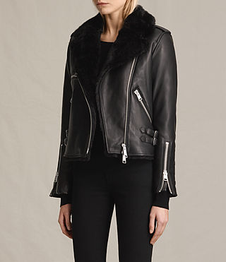 Womens Higgens Lux Leather Biker Jacket (Black/Black) - product_image_alt_text_4