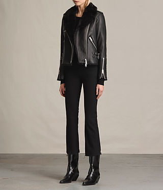 Womens Higgens Lux Leather Biker Jacket (Black/Black) - product_image_alt_text_5