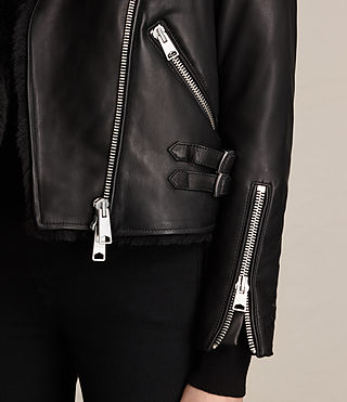 Womens Higgens Lux Leather Biker Jacket (Black/Black) - product_image_alt_text_6