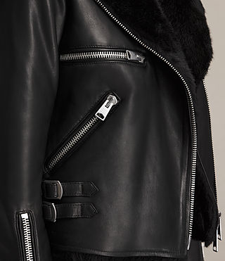 Womens Higgens Lux Leather Biker Jacket (Black/Black) - product_image_alt_text_7