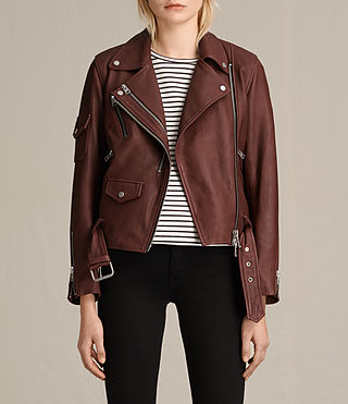 Damen Harland Leather Biker Jacket (BORDEAUX RED)