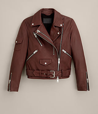 Damen Harland Leather Biker Jacket (BORDEAUX RED) -