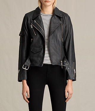 Women's Harland Leather Biker Jacket (Black)