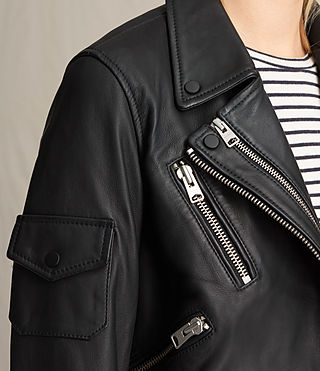 Mujer Harland Leather Biker Jacket (Black) - product_image_alt_text_2
