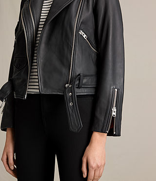 Mujer Harland Leather Biker Jacket (Black) - product_image_alt_text_4