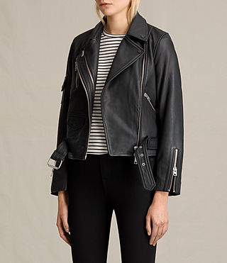 Mujer Harland Leather Biker Jacket (Black) - product_image_alt_text_5