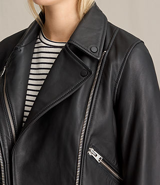 Mujer Harland Leather Biker Jacket (Black) - product_image_alt_text_6