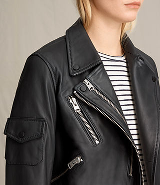 Mujer Harland Leather Biker Jacket (Black) - product_image_alt_text_8