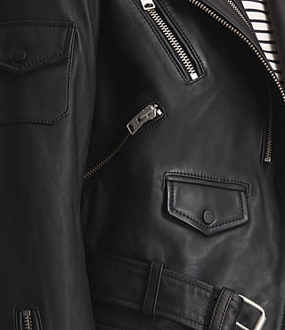 Mujer Harland Leather Biker Jacket (Black) - product_image_alt_text_9