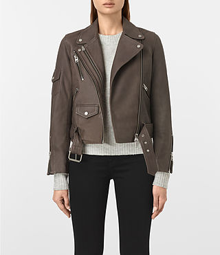 Womens Harland Leather Biker Jacket (Grey) - product_image_alt_text_1