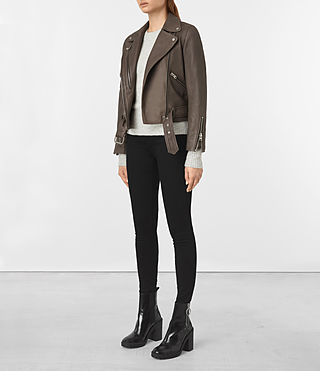 Womens Harland Leather Biker Jacket (Grey) - product_image_alt_text_2
