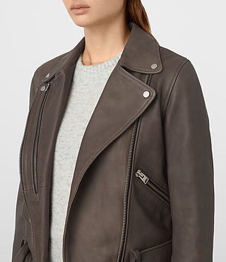 Womens Harland Leather Biker Jacket (Grey) - product_image_alt_text_3