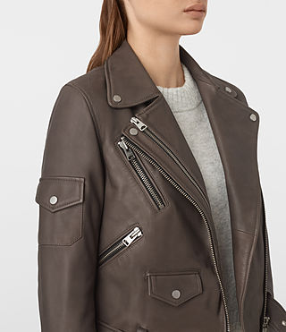 Womens Harland Leather Biker Jacket (Grey) - product_image_alt_text_4