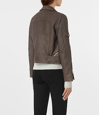 Womens Harland Leather Biker Jacket (Grey) - product_image_alt_text_5