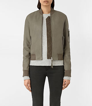 Women's Avalon Leather Bomber Jacket (PISTACHIO GREEN)