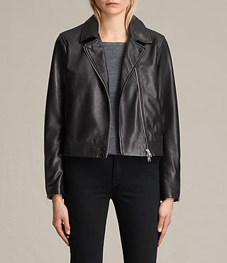 Damen Lowell Leather Biker Jacket (Black)