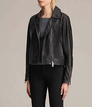 Donne Lowell Leather Biker Jacket (Black) - product_image_alt_text_3