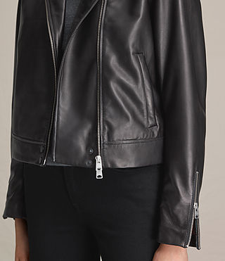 Donne Lowell Leather Biker Jacket (Black) - product_image_alt_text_4