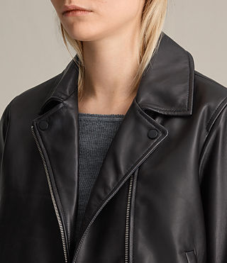 Donne Lowell Leather Biker Jacket (Black) - product_image_alt_text_5