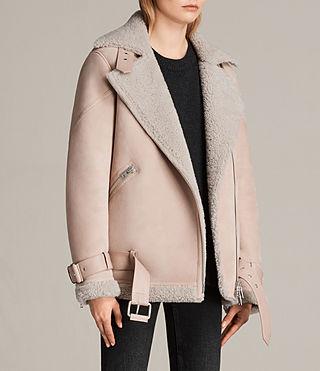 ALLSAINTS UK: Womens Hawley Oversized Shearling Biker Jacket (Pale ...