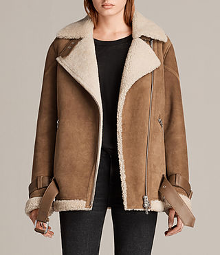 ALLSAINTS US: Womens Hawley Oversized Shearling Jacket (Black)