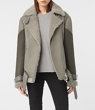Damen Hawley Oversized Shearling Jacket (GREY/KHAKI GREEN)