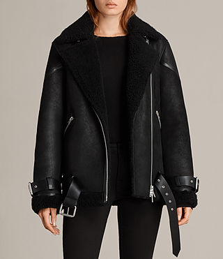 Mujer Hawley Oversized Shearling Jacket (Black)