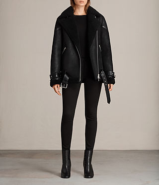 Womens Hawley Oversized Shearling Jacket (Black) - Image 3