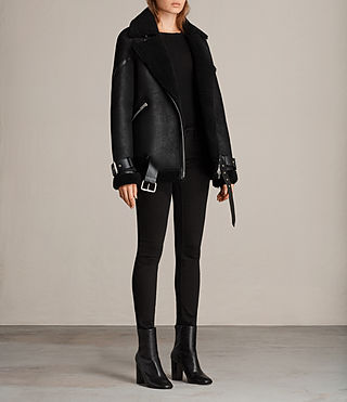 Womens Hawley Oversized Shearling Jacket (Black) - Image 5