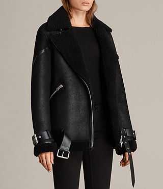 Womens Hawley Oversized Shearling Jacket (Black) - Image 6