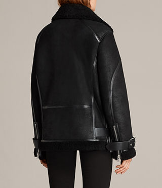 Womens Hawley Oversized Shearling Jacket (Black) - Image 9