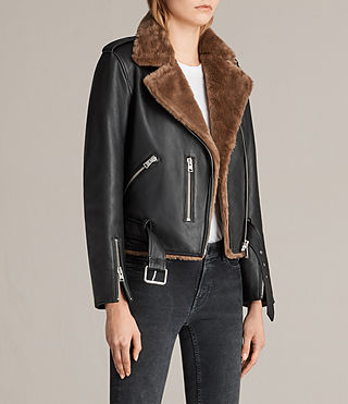 Womens Balfern Lux Biker Jacket (BLACK/TOFFEE BROWN) - Image 6