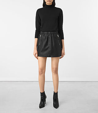 Womens Suko Leather Skirt (Black)