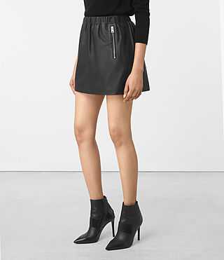 Donne Suko Leather Skirt (Black) - product_image_alt_text_2