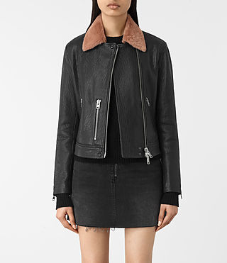 Damen Shorland Leather Biker Jacket (BLACK/PINK) -