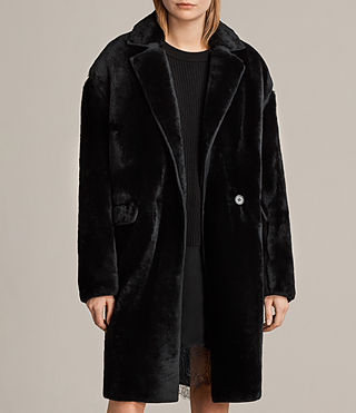 Damen Jale Shearling Coat (Black)
